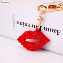 Lips Keychain - New Fashion Rhinestone Key Chain Car Key Ring Girls Sexy Lips chain color pendant For Women Lover's Gifts K1587(China)