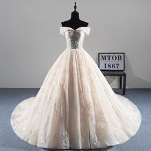 新着セクシーな A ラインレースのウェディングドレス 2019 ロマンチックローブ · デ · マリアージュ Vestido デ Noiva 高級ビーズ花嫁ドレス MTOB1814