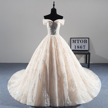 New Arrival Sexy A line Lace Wedding Dress 2019 Romantic Robe De Mariage Vestido De Noiva Luxury beading Bride Dresses MTOB1814