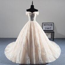 New Arrival seksowna koronkowa suknia ślubna 2019 romantyczny szata De Mariage Vestido De Noiva luksusowe frezowanie panny młodej MTOB1814