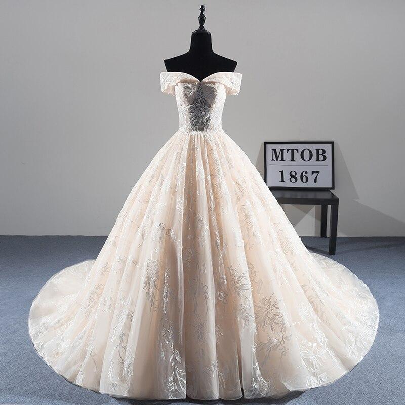 Nouvelle Arrivée Sexy A-ligne Dentelle Robe De Mariée 2018 Romantique Robe De Mariage Robe De Noiva Luxe perles Robes de Mariée MTOB1814