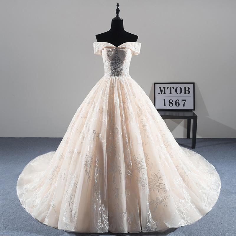 Sexy di nuovo Arrivo A-line Pizzo Abito Da Sposa 2018 Romantico Robe De Mariage Vestido De Noiva Lusso bordare Abiti Da Sposa MTOB1814