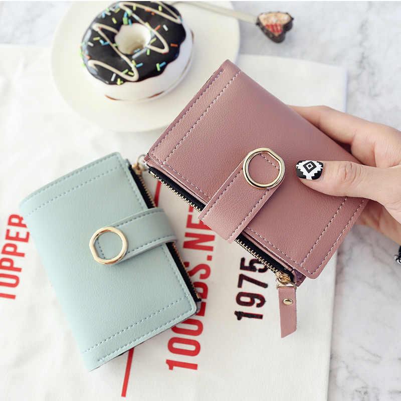 Moda sólidos rosa pequenas carteiras para as mulheres curto bifold zipper bolsa da moeda da menina estudante de couro pu embreagem carteira de couro