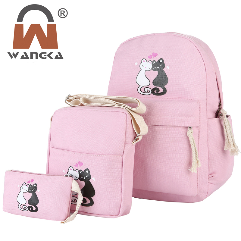a1483abc9e Women Backpack Style 3 Set PC Rucksack Cute Animal Printing Canvas School  Bags For Teenager Girls Boys Cute Book Bagpack