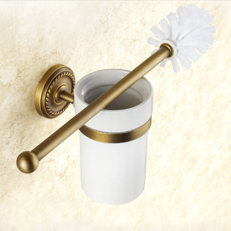 Antique Brass Toilet Brush Holder Wall Mounted Lavatory Brush Toilet Brush Holder Set Bathroom Accessories KD636
