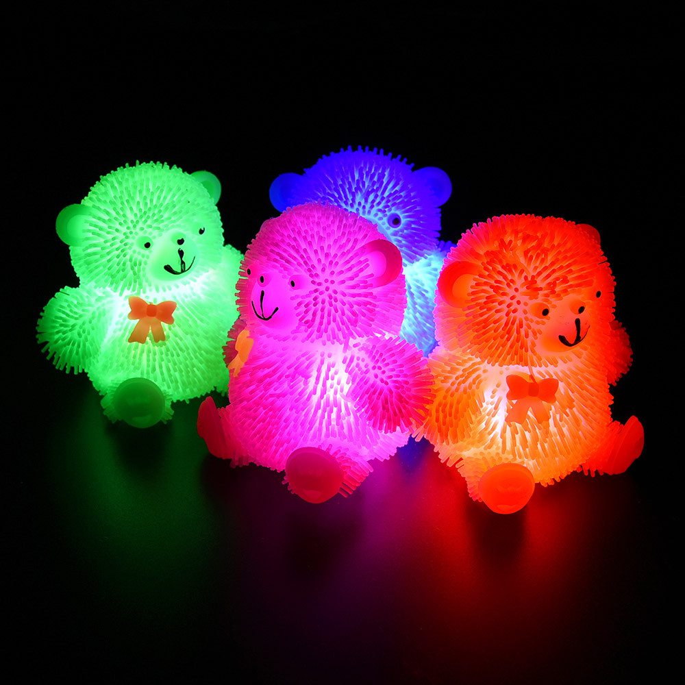 9cm Novelty Flashing Puffer Cute Bear Squidgy Sensory Toy Activity Play Balls Fun Boy Girl Toy Gift Anti-stress Kid Adult