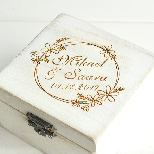 Personalized Retro White Wedding Ring Box Custom Name Ring Box