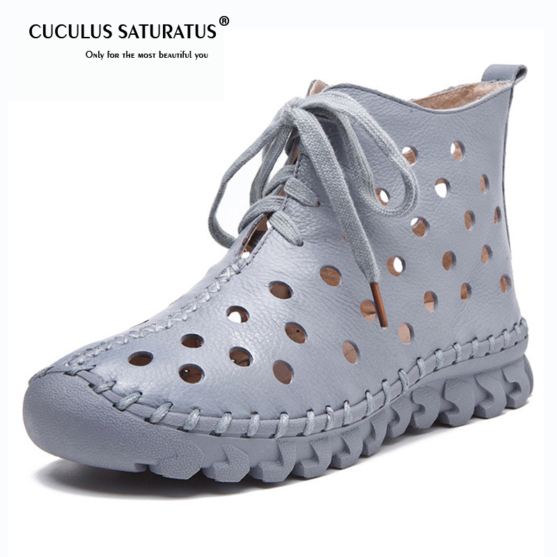 Cuculus 2019 Spring Summer Shoes Women Genuine Leather Boots Low Heel Ankle Boot Handmade Hollow Fretwork Women Boots 1872 mvvjke 2018 spring summer new bow genuine leather women boots hollow mesh ankle boots comfortable low heels fashion shoes