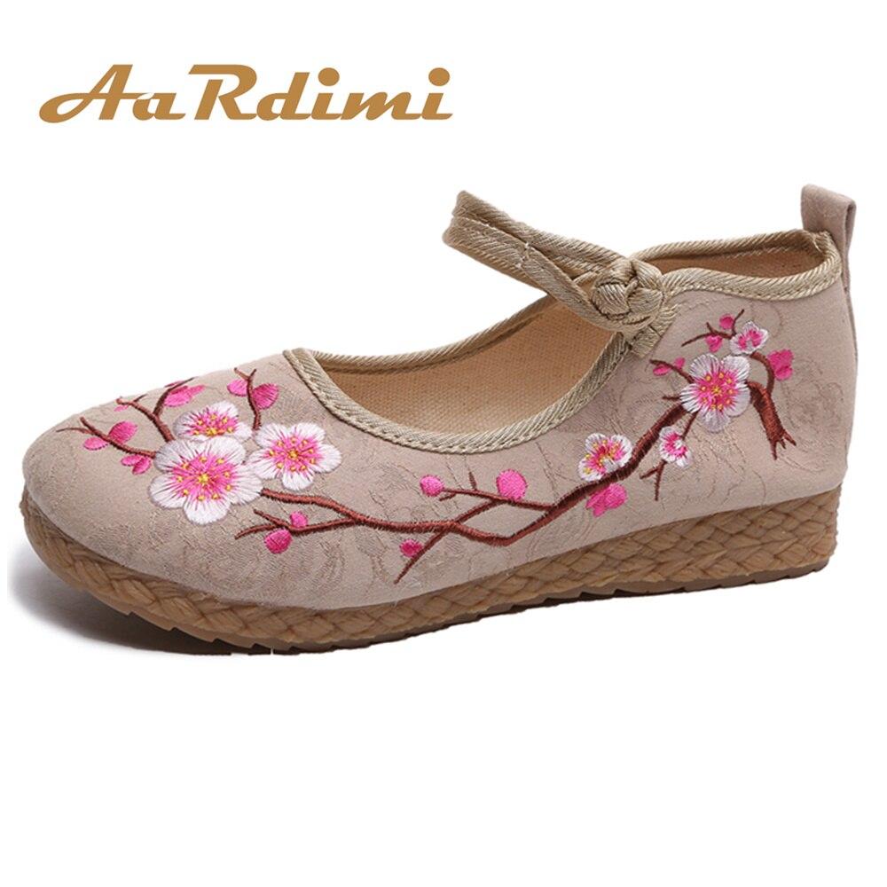 Schuhe Treu Aardimi Retro Bestickt Frauen Leinwand Ballett Wohnungen Casual Schuhe Damen Komfortable Chinesischen Ballerinas Frauen Stickerei Schuhe Diversifizierte Neueste Designs