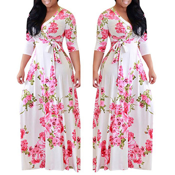 2018 European and American Autumn Ladys Printed Dress New Large Size Dress Women's Long-sleeved V-neck Waist Dress