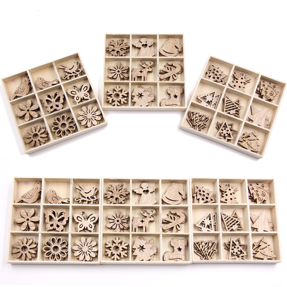 Hot Sale Mix Styles Mini Wood Chips Diy Wood Crafts Christmas