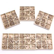 Mix Styles Mini Wood Chips DIY Crafts Christmas Ornaments Scrapbooking Supplies Party Decorations Kids Gift
