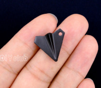 50pcs Paper Airplane Charms Black Tone Paper Air Craft Charms Pendant 18x17mm