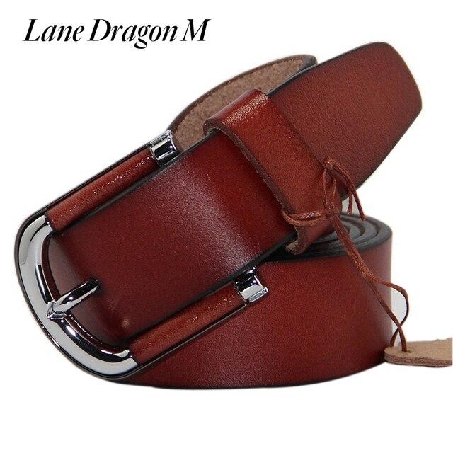 [Lane Dragon M] High Quality Genuine Leather Men Belt Brand Strap Male Metal Pin Buckle Fashion Belts D0013
