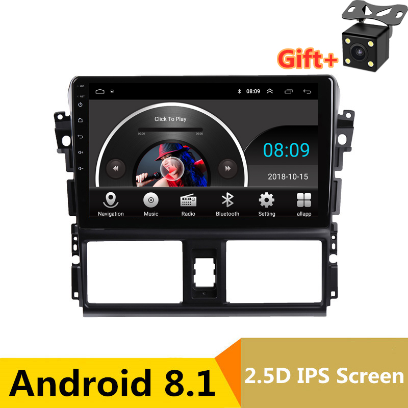 "9"" 2.5D IPS Android 8.1 Car DVD Multimedia Player GPS For Toyota Vios YARIS 2014 2015 2016 audio car radio stereo navigation"