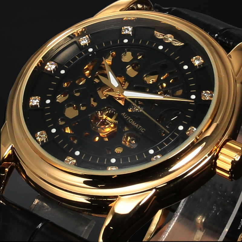 цена на Winner Top Brand Luxury Royal Diamond Design Black Gold Watch Montre Homme Mens Watches Relogio Male Skeleton Mechanical Watch