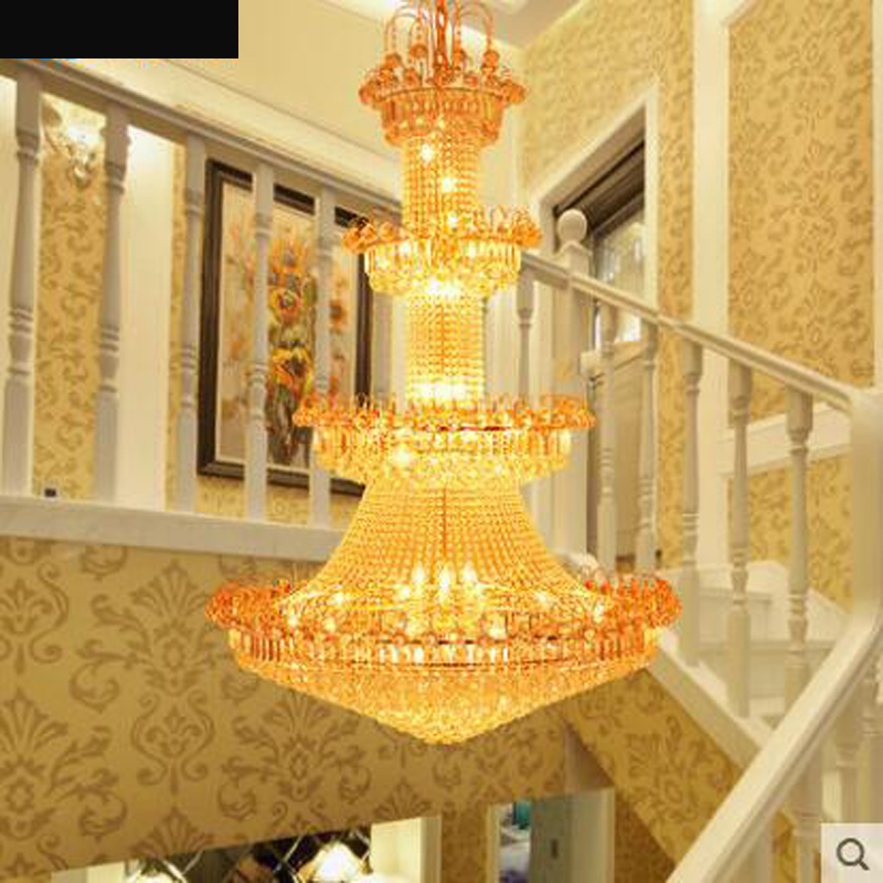 Duplex chandelier staircase lamp long chandelier villa living room lamp chandelier hotel project crystal lamp round hall lamp