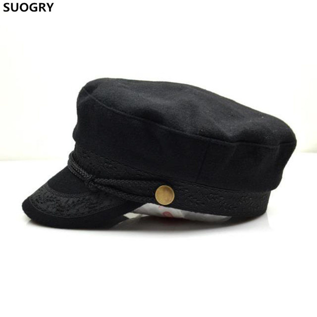 a26cabf8637 SUOGRY Military Hat Winter Knitted Cap Flat Top Hats For Women Black Grey  Male Female Casquette
