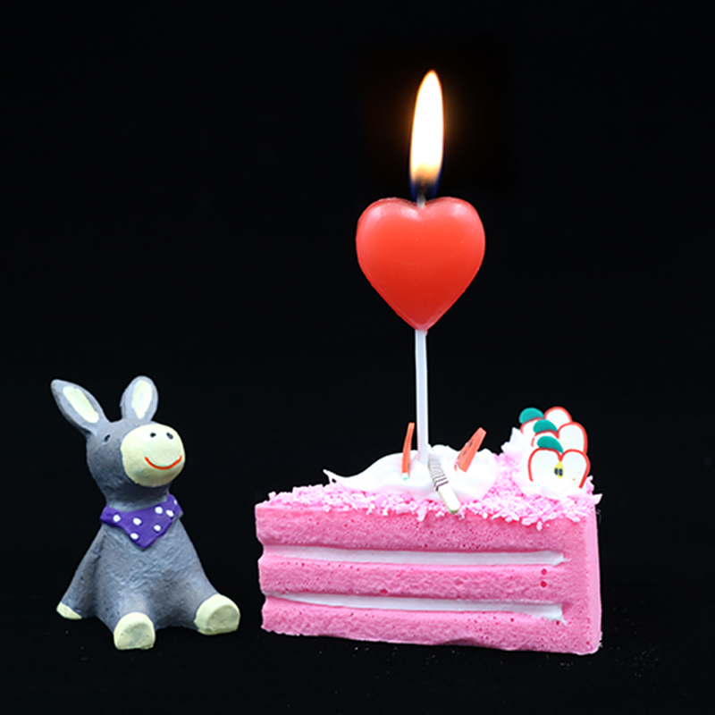 1 Pcs Red Love Heart Cake Candle Safe Flames Kids Birthday Party Wedding Cake Candle Home Decoration Favor Supplies