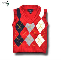 OFCS New Design Girl S Vest Cardigan Sweater Brand Grid Style Kids Autumn Knitted Wool Vest
