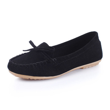 COZULMA Women Breathable Butterfly-knot Casual Shoes Fashion Flock Sneakers Female Slip-on Boat Shoes Plus Size 35-43 1