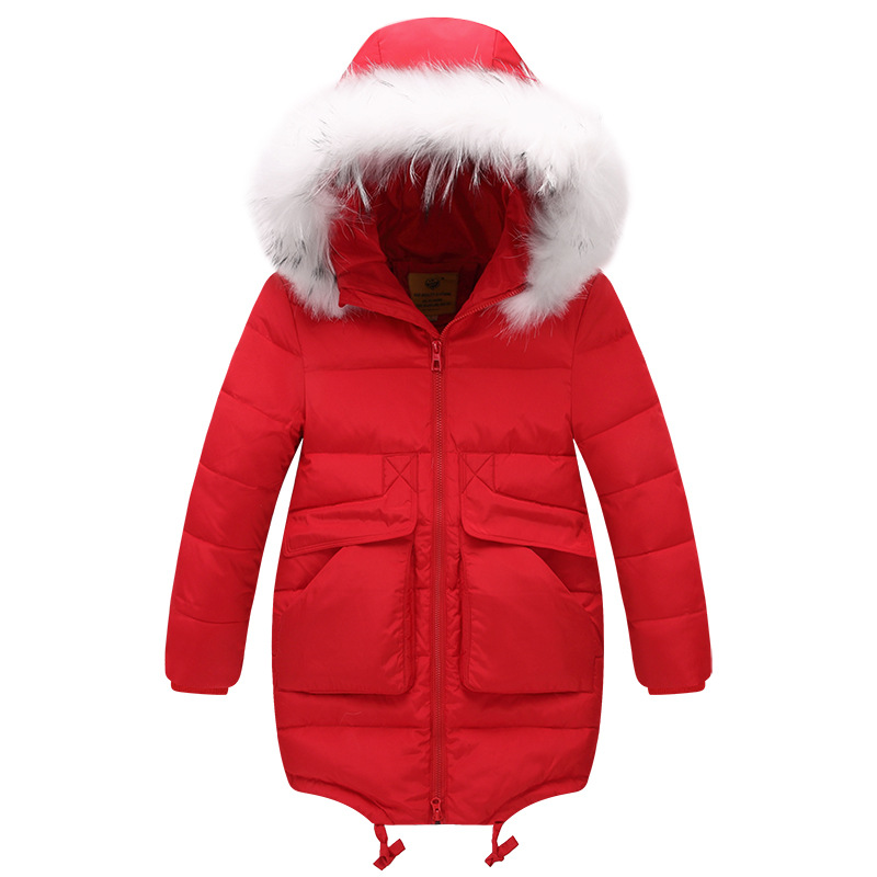 ФОТО 2017 Hooded Winter Girl Coat Children Down Winter Jacket Hooded Girls Parka Thicken Duck Down Kids Outwear Teenage Winter Jacket