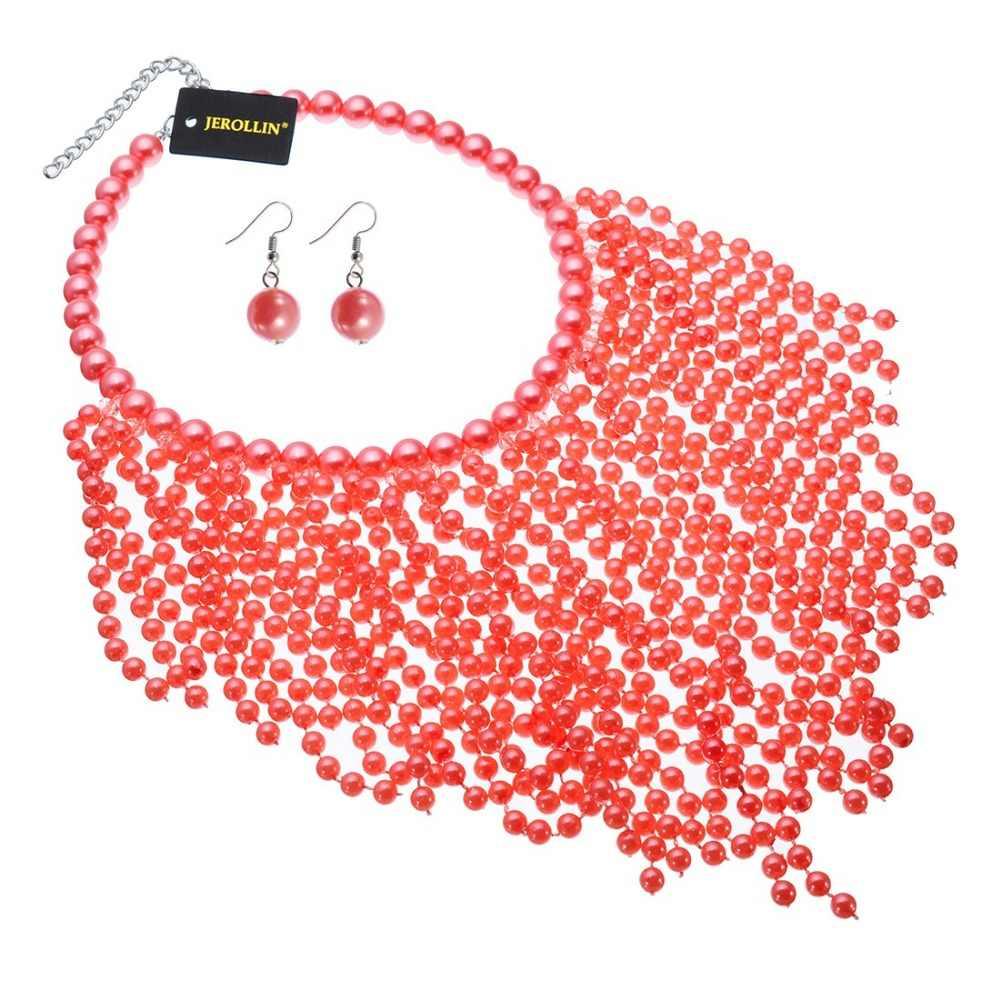 Modeschmuck set perle choker kragen aussage bib halskette ohrringe