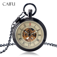 Vintage Simple Open Face Pocket Watch Mechanical Self Winding Smooth Stylish Clock Chain Women Men Gift