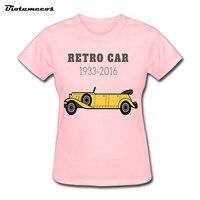 Luxury Brand Womens T Shirts Yellow Convertible Retro Car 1935 2016 Printed T Shirt Brand Clothes
