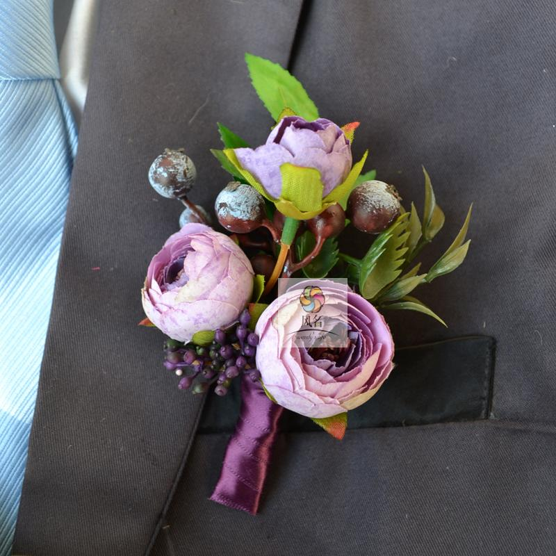 Wedding Flowers Corsage Ideas: 10Pcs/Lot DIY Wedding Corsage Flowers Groom Boutonniere