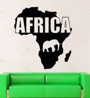 Afryka Mapa Naklejki Naklejka Słoń Plakaty Quadro Pegatina Wystrój Mural Parede Afryka Mapa Winylowe Naklejki Ścienne Naklejki