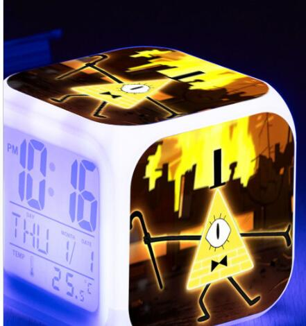 Gravity Falls Reloj Despertador LED 7 Color Flash Digital Alarm Clock Watch Touch Night Lighting Flash Clocks Free Drop Shipping