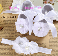 Ivory Newborn Booties Christening Shoes For Baby Girl Infant Headband Set Toddler Baby Shoes Ballerina Girls