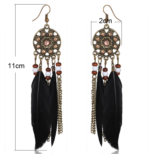 Black, Red, Light Coffee and Blue Feather Earrings Long