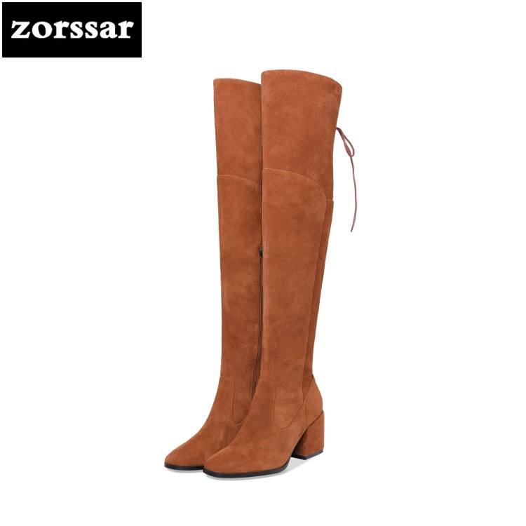 {Zorssar} 2019 Fashion Female Winter Thigh High Boots Genuine Leather High Heels Women Over The Knee boots Suede Snow boots