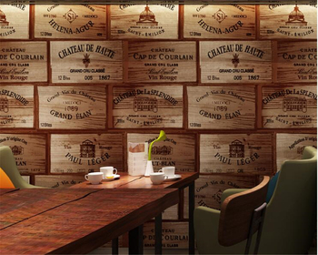beibehang American country imitation wood grain PVC wood 3d wallpaper Retro wine pattern winery wall paper restaurant background wine country postcard book