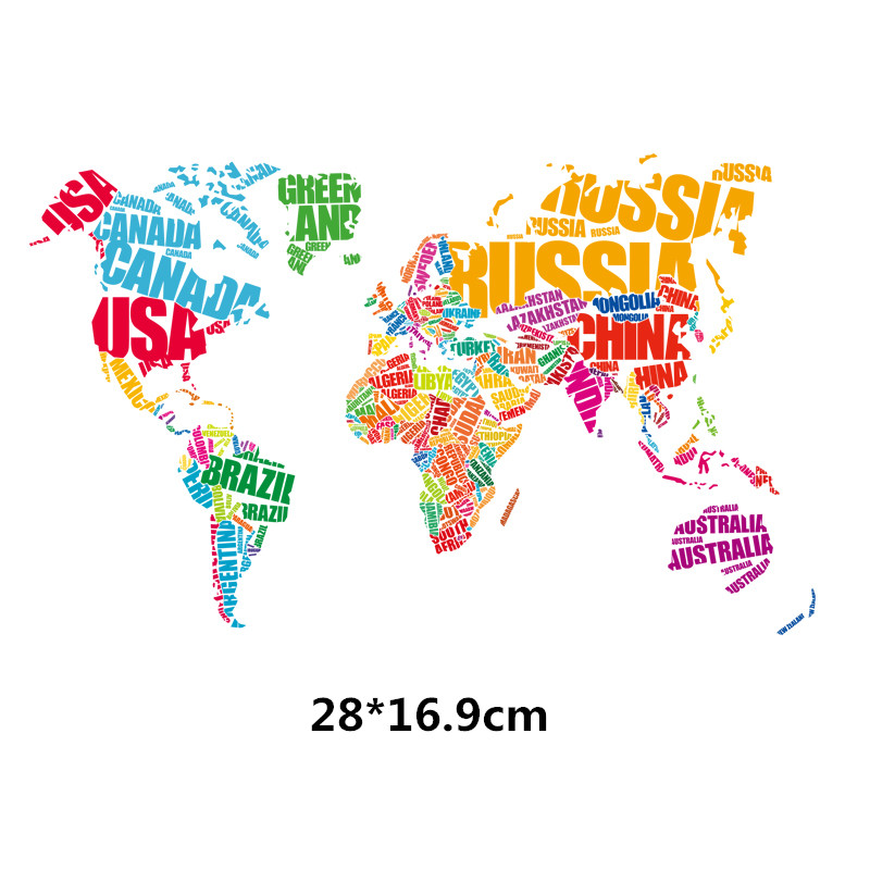 2017 new color english word world map stickers 28169cm iron on patch t shirt sweater thermal transfer paper patch for clothing in patches from home