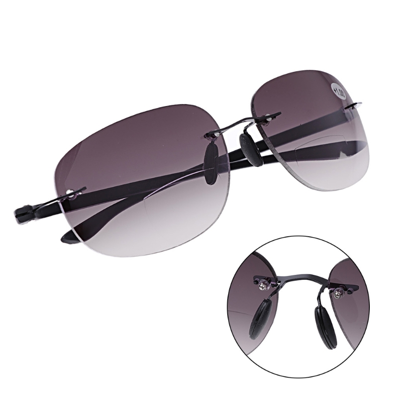 Outdoor Rimless Fishing Bifocal Reading Glasses Sunglasses Readers +1.0 To +3.5