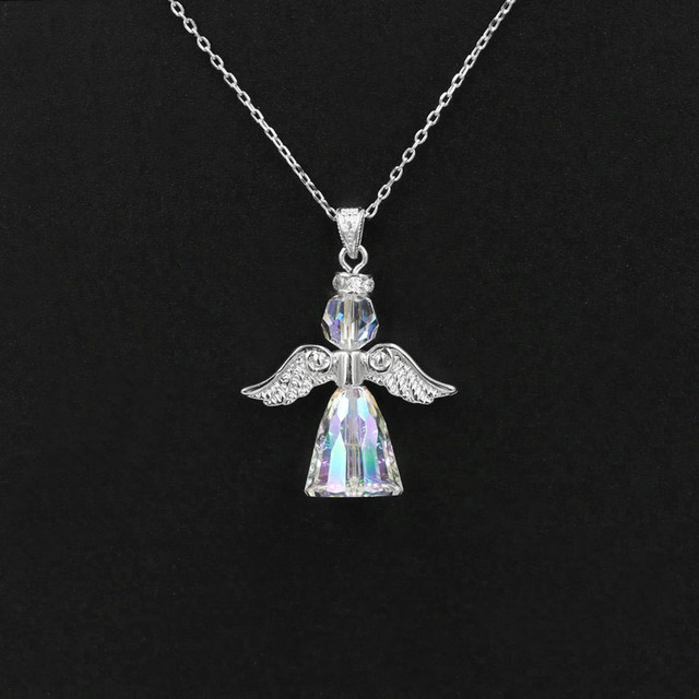 Pure 925 sterling silver angel wings austrian crystal pendant chain pure 925 sterling silver angel wings austrian crystal pendant chain necklace for women cone shaped geometric aloadofball Images