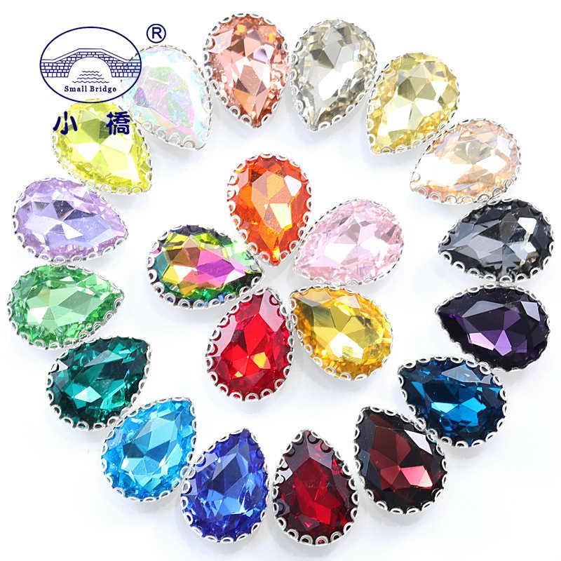 Metel Claw Crystal Sew On Rhinestone Colorful Flatback Rhinestones For Clothing Dress WaterDrop Glass Decorative Stones S143