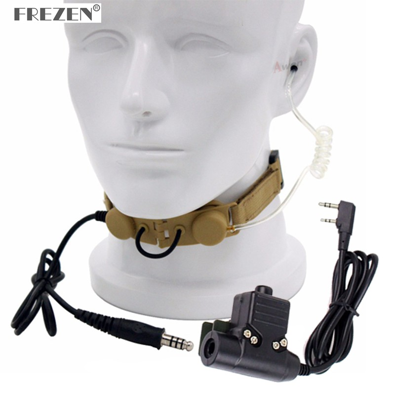 CS Z Tactical Throat Mic Z003 Air Tube Headset With U94 PTT For BaoFeng UV-5R  UV-82 TYT TH-UV8000D Radio Yellow