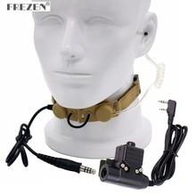 CS Z taktik boğaz mikrofon Z003 hava tüp kulaklık ile U94 PTT BaoFeng UV 5R UV 82 TYT TH UV8000D radyo sarı