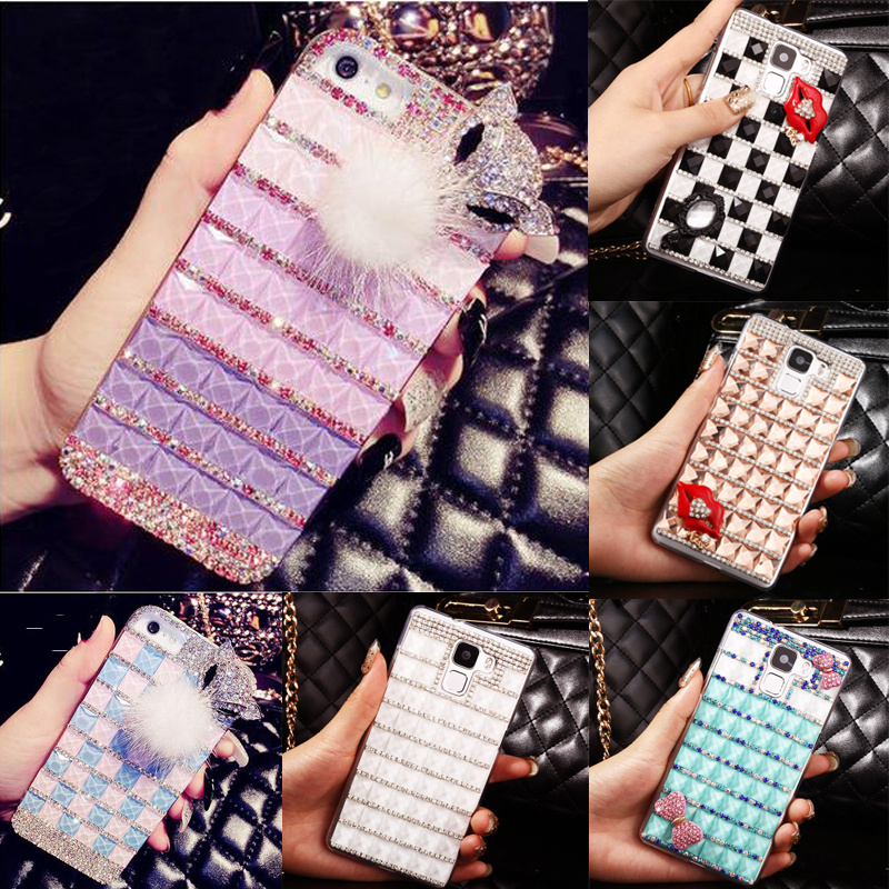 Square Rhinestone Phone Case Cover For Samsung Galaxy A5 A7 A8 A3 2015 2016 2017 2018 A9 Pro Bowknot Lip Fox Pink Blue Gradient