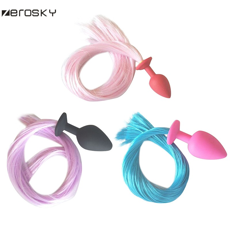 Fluffy Fur Fox Tail Stainless Steel//Silicone Stopper Cosplay PetTails Stoppper