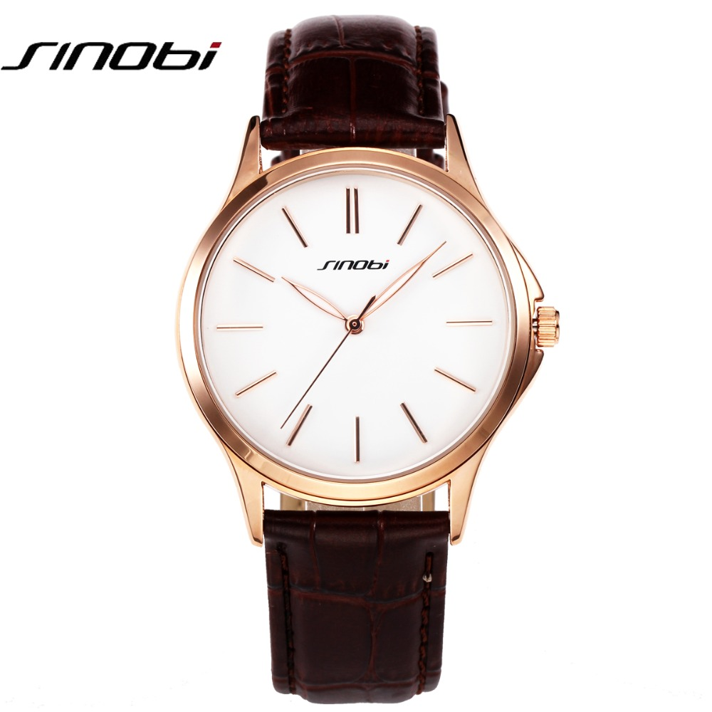 SINOBI Ultra Thin Simple Fashion Casual Japan Quartz Men Watches Business Gentalman trend leather Strap Wristwatch