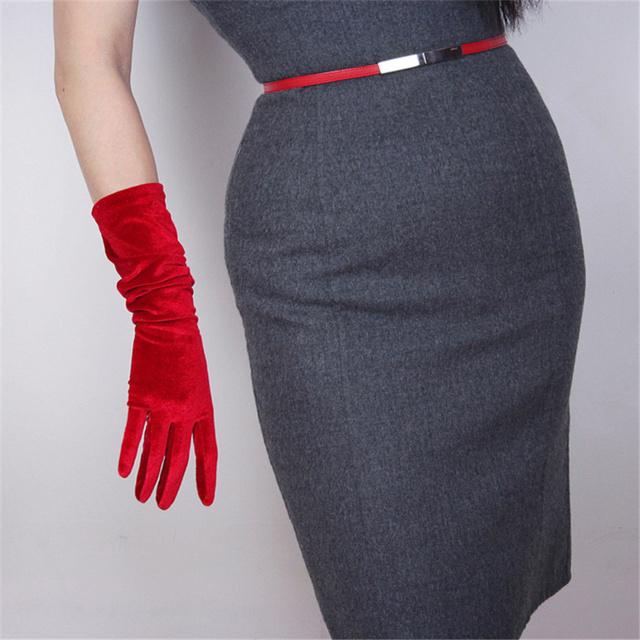Moda aksamitne rękawiczki 22cm krótkie wino czerwone karmazynowe Super długie damskie wysoki elastyczny aksamit złoty aksamitny ekran dotykowy SRJH22