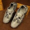 2017 Hombre de Los Holgazanes del Mocasín Pisos Transpirable Para Hombre Del Diseñador Mocasines Planos Zapatos Causales Zapatos Del Barco de la Marca de Lujo de Cuero de Vaca Mocasines