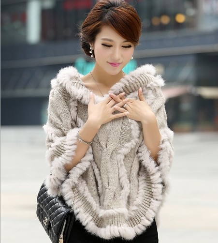 hot 2016 Knitted Genuine rabbit Fur Shawl Wrap women real rabbit