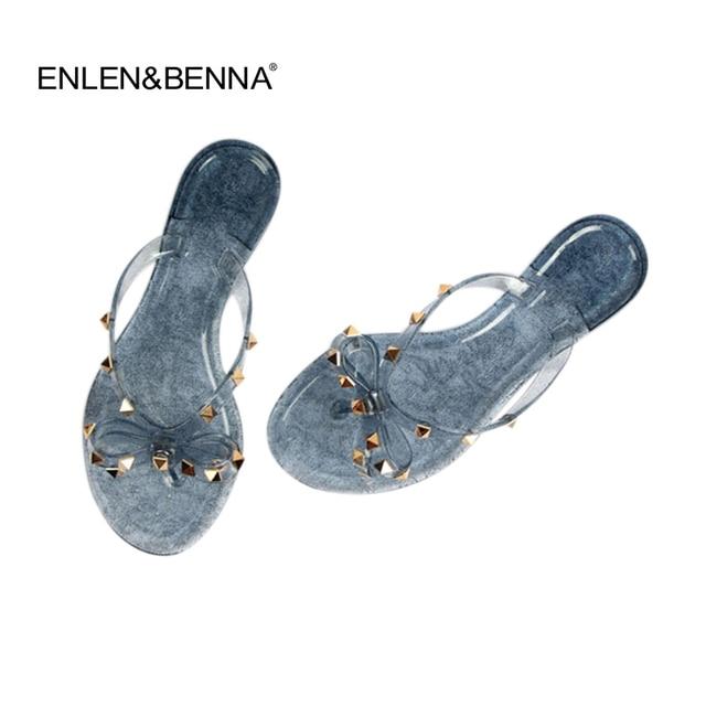 ae44b8c6befaad Hot 2018 Fashion Woman Flip Flops Summer Shoes Cool Beach Rivets big bow  flat sandals Brand