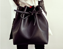 Fashion candy color female all match bucket bag pu leather one shoulder cross body women